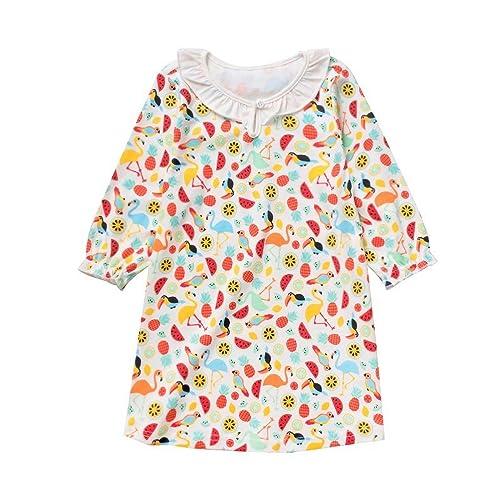 Exemaba Girls Long Sleeve Nightgown 2 Packs Toddler Little Kids Girls Princess Nightdress Cotton Sleepwear