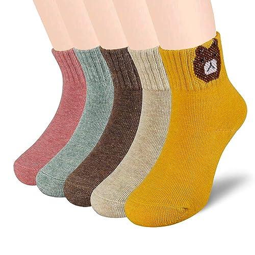 2-11 Years Toddler Boys Cotton Socks Kids Funky Multi Colour Casual Crew Socks Back to School Socks 5 pairs