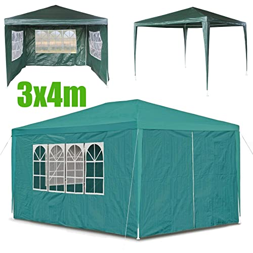 UK Stock White Bowose 3M x 6M Outdoor Gazebo with Sides Windows Waterproof Marquee Awning Party Tent Canopy PE Power Coated Steel Frame