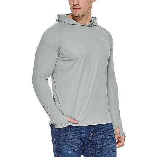 Mens UPF 50 Running Sun Protection Long Sleeve T-Shirt Outdoor Rashguard Hiking Hoodies Performance Athletic Top