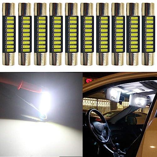 "AMAZENAR 4-Pack 1.25/""31MM DE3175 6428 Warm White 400 Lumens 3020 Chipset 6SMD Non-Polarity Canbus Error Free LED Festoon Bulbs for Interior Car Lights License Plate Dome Map Door Courtesy 3000K"