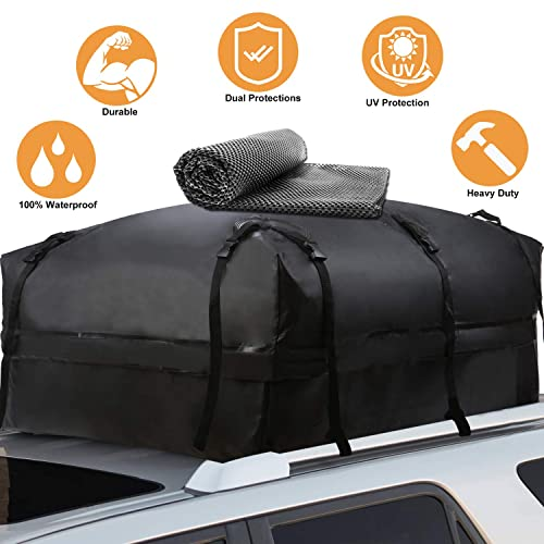 20 Cubic Feet Heavy Duty Car Top Cargo Carrier Bag with Built-in Protective Mat Fits All Cars with//Without Rack KING BIRD 100/% Waterproof Roof Bag with External Non-Slip Mats