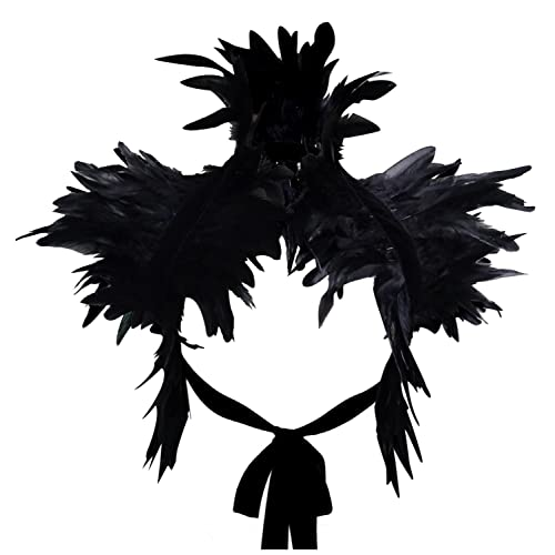 Newest Fashion Black Feather Sewing Trimming Collar Shoulder Peacock Shawls Fringe Evening Dress Angel Wings Cocktail Dress
