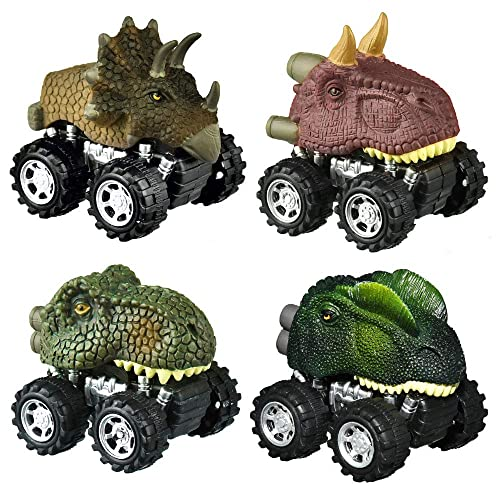 Triceratops Pull Back Animals Dino Cars with Big Tire Wheel for 2 to 5 Year Old Boys Girls Gifts 4 Pack Toy Cars Including T-rex ICEBLUEOR Dinosaur Toys Boys
