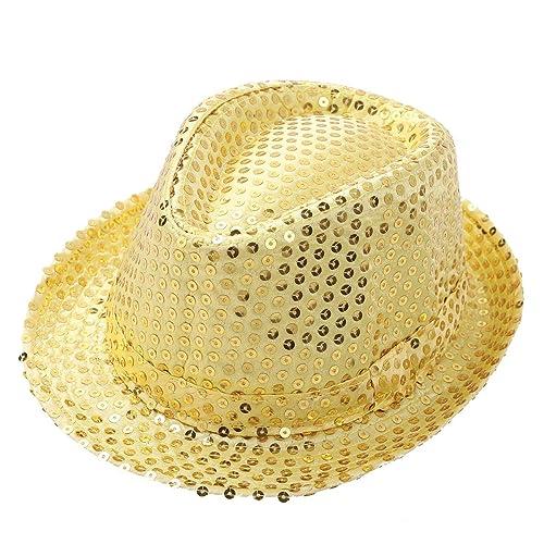 YONGHS Kids Girls Boys Shiny Sequins Solid Color Fedora Hat Hip Hop Street Dancing Ballroom Accessories Hat Dancewear