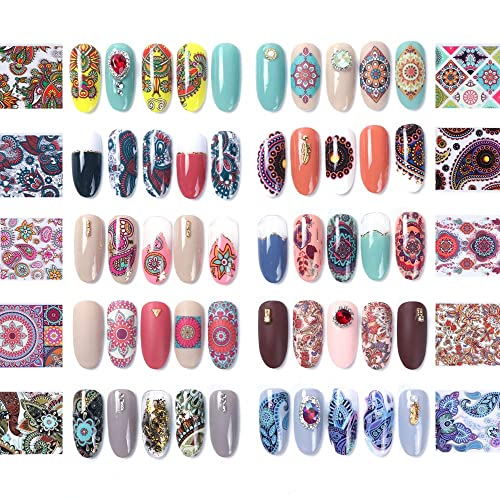 Dageda 1 Pack Of 10 Pcs Retro Nail Art Stickers Nail Transfer Foil Wraps Nail Art Diy Decoration Kit Floral Flower Colorful Starry Sky Shining Marble Classic Holographic Nail Foil Buy Products Online With Ubuy Kuwait In Affordable Prices