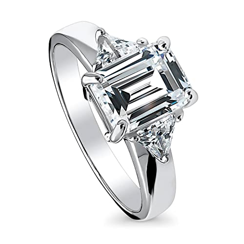 Three Rectangle Cubic Zirconia Stones Center Ring Rhodium Plated Sterling Silver