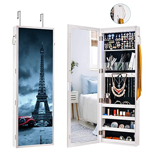 Lockable Jewelry Cabinet Walldoor Mounted 8 Led Jewelry Armoire With Mirror Large Capacity Dressing Mirror Makeup Jewelry Chest With Colorful Picture Frame Painted Jewelry Organizer Eiffel Tower Buy Products Online With Ubuy