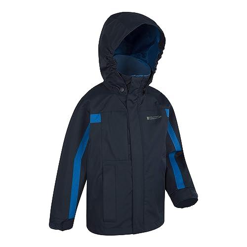 Mountain Warehouse Orbit Girls Jacket Adjustable Cuffs for Daily use Purple 7-8 Years Waterproof Rain Coat Casual Jacket Storm Flap Childrens Travel Coat Fleece Lined Collar