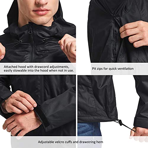 Baleaf Mens Runing Windbreaker Lightweight Hooded Windproof Jacket