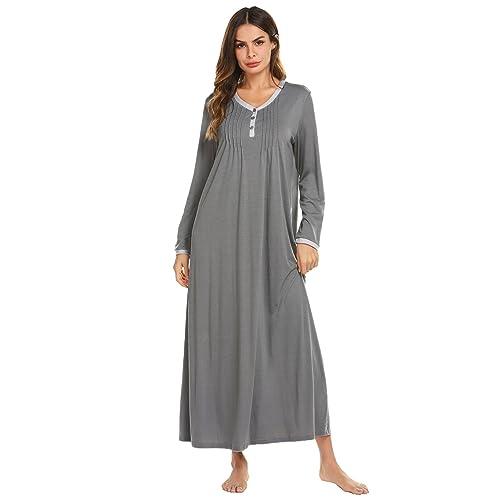 Ekouaer Womens Nightshirt Long Sleeves Nightgown Casual Button Up Sleepwear Henley Full Length Sleep Dress