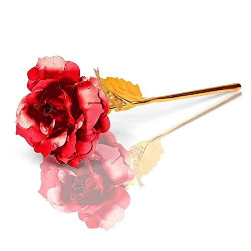 Mothers Day Thanks Giving Day Apical Life 3Packs 24K Gold Foil Giled Rose Birthday Artificial Flowers Best Gift for Valenines day