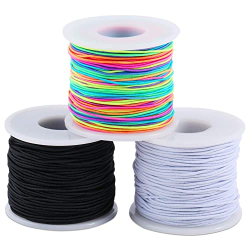 Black Zealor 100 Yards 2 mm Elastic Cord Stretch String Elastic Beading Cord Craft Thread for Jewelry Making