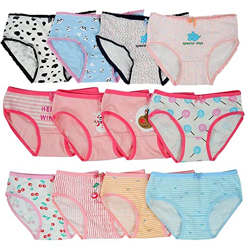 Different Motifs Sizes 2-13 Years Cotton Girls Briefs Pack of 7