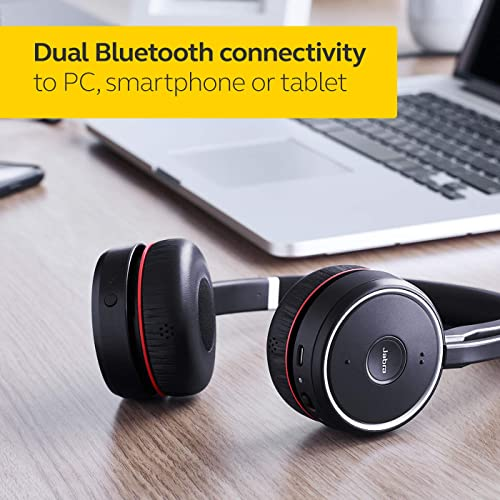 Jabra Evolve 75 Ms Wireless Stereo On Ear Headset Microsoft Teams Certified Headphones With Long Lasting Battery And Charging Stand Usb Bluetooth Adapter Black Buy Products Online With Ubuy Kuwait In Affordable Prices