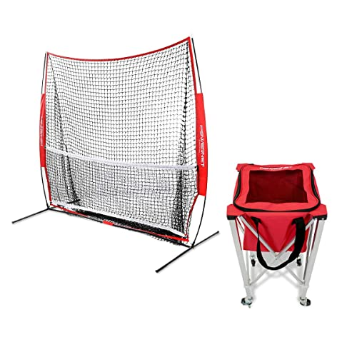 Buy Powernet 7x7 Ft Portable Tennis Net Trainer Bundle Wheeled Ball Cart Bundle Multi Sport Trainer 49 Sqft Of Hitting Area Net And Frame Ez Setup Collapsible Caddy