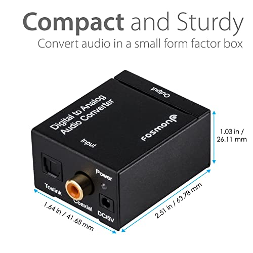 Orei DA21 Optical SPDIF//Coaxial Digital to RCA L//R Analog Audio Converter with 3.5mm Jack