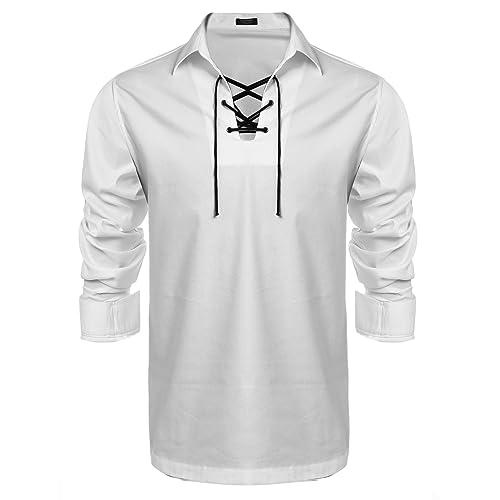 Z/&N PRODUCTS Cream Scottish Highland Jacobite Jacobean Ghillie Kilt Shirt