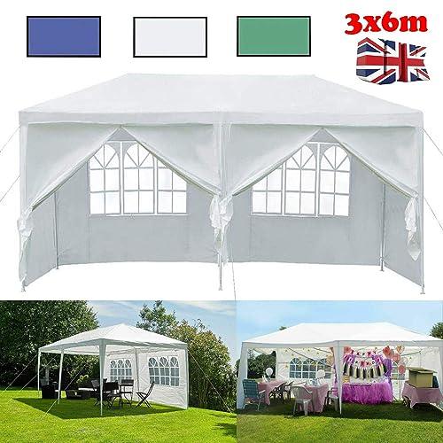 3x6M Garden Gazebo Waterproof Marquee Canopy Wedding Party Camping Tent UK Store