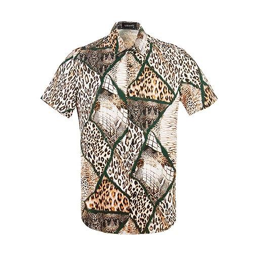 Mens Shirt Hawaii Style Long Sleeve Floral Print Shirt Casual Party Blouse Top Zulmuliu
