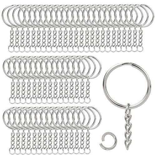 50pcs Keyring Blanks 55mm Silver Tone Key chains Key Split Rings 4 Link Chain by Micro Trader