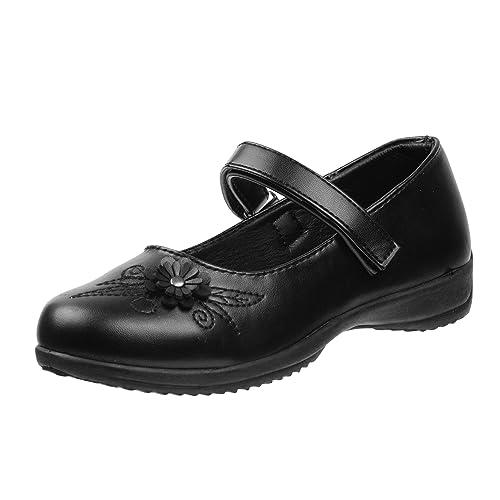 Toddler//Little Kid//Big Kid Laura Ashley Girls School Uniform Shoes with Elastic Gore Buckle