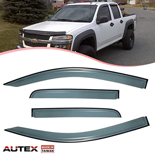S SIZVER Smoked Out-Channel Window Vent Guard Rain Visors Compatible with 2015-2019 Chevrolet Colorado//GMC Canyon