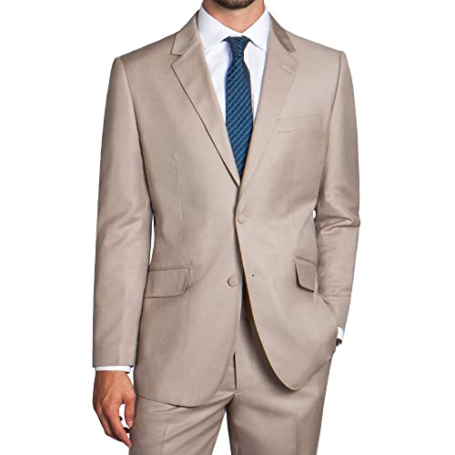 Pio Lorenzo Mens 2-Piece Classic Fit Solid Color Single Breasted 2 Buttons Suit