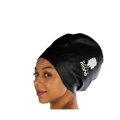 Happy Mane Premium Large Silicone Swimming Cap for Long Hair Dreadlocks Hair extension Braids Weave on Tick Afro