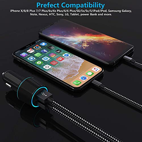 Czznn Fast Car Charger Extra Long 6 ft Charging Cable Compatible iPhone Car Charger iPhone X//8//7//6s//6//SE Car Charger