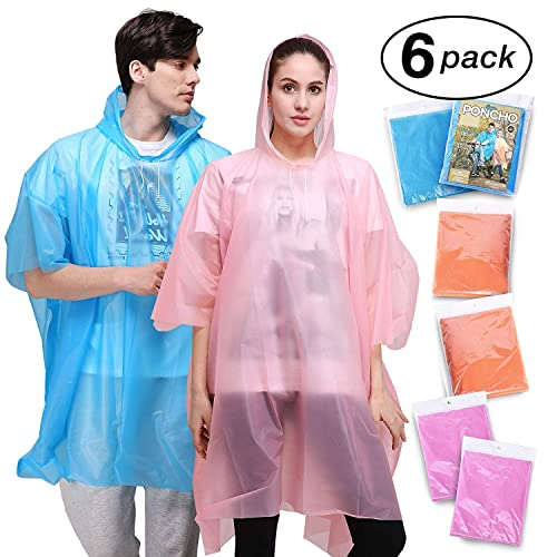 Aival Emergency Waterproof Poncho Raincoat Hooded for 6 Disposable Rain Poncho