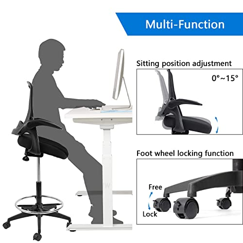 Devoko Drafting Chair With Flip Up Arms Tall Office Chair Executive Computer Standing Desk Chair Black Black Talkingbread Co Il