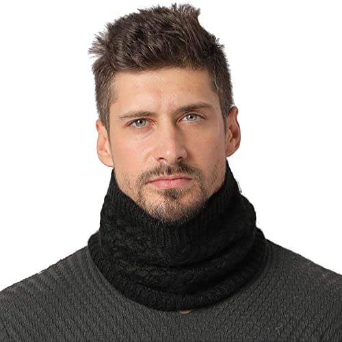 Lo Shokim Harsh Winter Double-Layer Soft Fleece Lined Thick Knit Neck Warmer Circle Scarf Windproof Dark Purple WB01-PURPLE