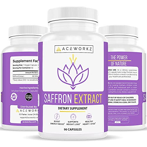 100 Pure Saffron Extract Supplement Healthy Weight Loss Support