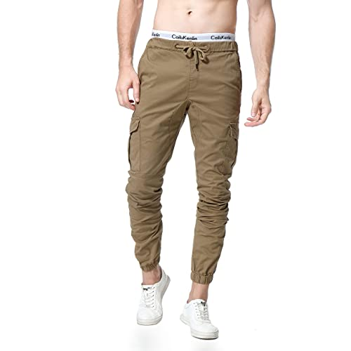 Percy Perry Mens Athletic Workout Sweatpants Casual Trousers with Cargo Pockets