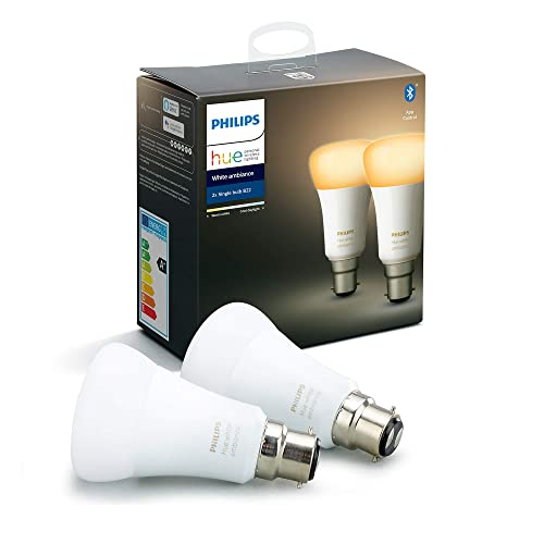 Philips Hue White and Colour Ambiance Smart Bulb 3 Pack LED Bundle with Bluetooth Works with Alexa and Google Assistant B22 Bayonet Cap