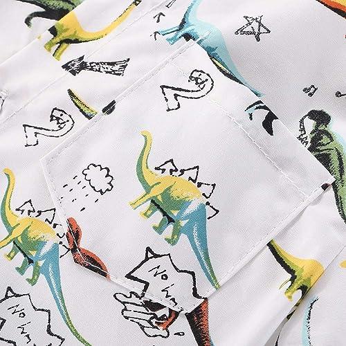 Motteecity Fashion Boys Dinosaur Style Printed Casual Polo Shirt