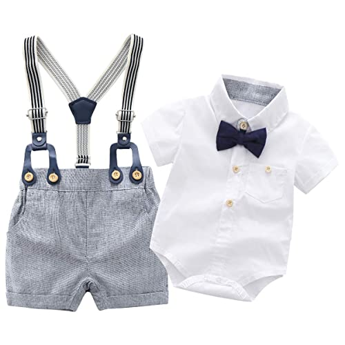 YUN HAO Toddler Baby Boys Gentleman T-Shirt Overalls Clothes Summer Suits