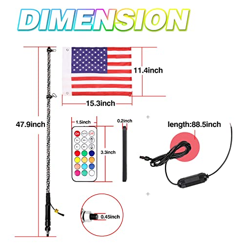 American Flag and New Quick Connect! New 4ft G2 20 Color LED Whip w// Remote