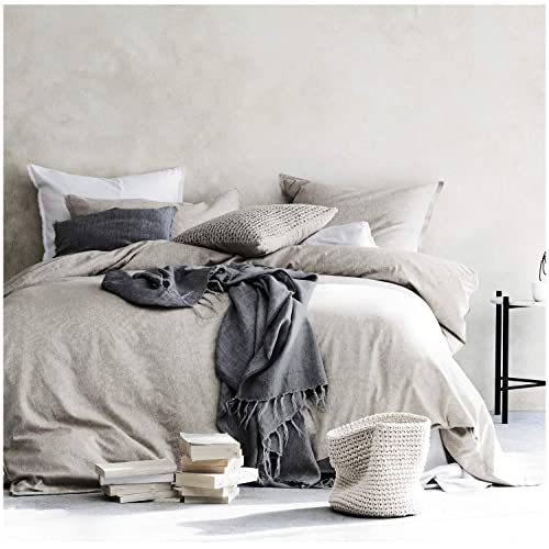 Stone Washed - Ultra Soft /& Comfortable Farmhouse Design Charcoal Dark Grey Vintage Beflax Premium 100/% Natural Pure Linen Duvet Cover Queen /& King