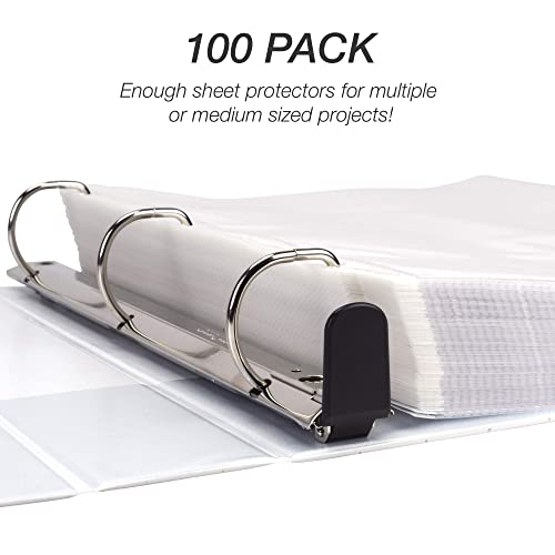 Samsill Standard Weight 11 Hole Clear Sheet Protectors//Acid Free Archival Safe//Polypropylene Sheet//Top Loading Sheet Protectors 8.5 x 11 inches//Box of 150 Page Protectors Bulk//Clear