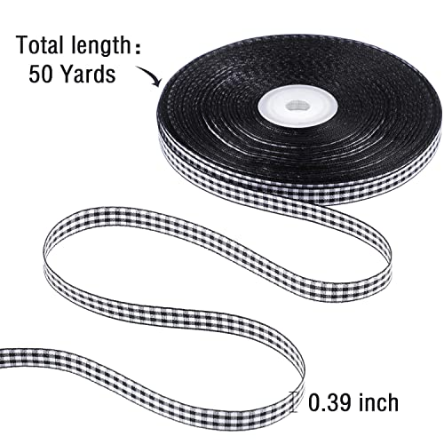 50 Yards Gingham Ribbon Taffeta Ribbon Black and White Plaid Polyester Ribbon with Woven Edge