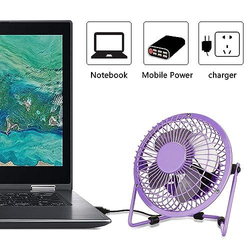 PEYOU 4 Inch Mini USB Portable Fan-3.6 ft USB Cable-Personal Metal Table Fan Powered by Computer,Laptop,Power Bank Fan-360/° Adjustable Operation Fan for Office,Home,Traveling Mini Desk Fan Purple