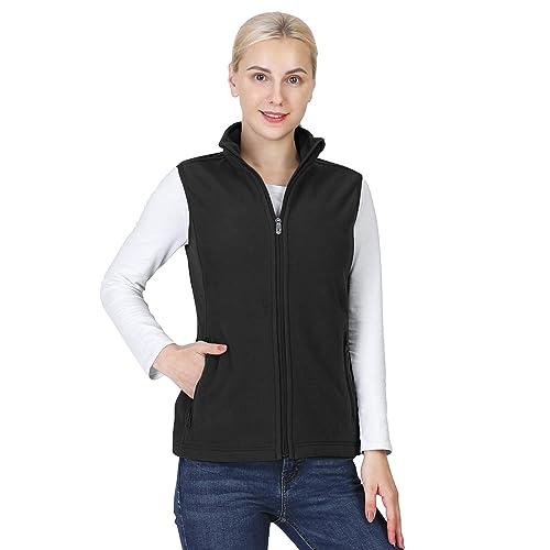 Outdoor Ventures Womens Polar Fleece Zip Vest Outerwear with Pockets,Warm Sleeveless Coat Vest for Fall /& Winter