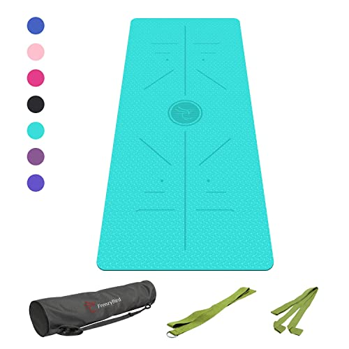 FrenzyBird/Eco-Friendly,Reversible,Non-Slip,Double-Sided//TPE/Yoga/Mat/with/Stretch/Strap,Carry/Strap/and/Mat/Bag,/Free/of/PVC/and/Other/Harmful/Chemicals,/