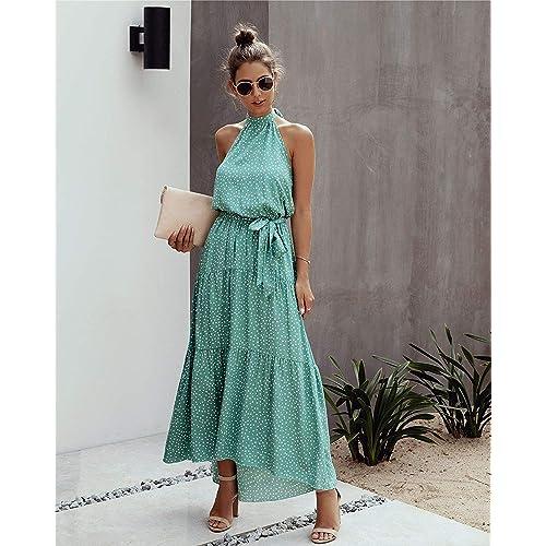 Saslax Womens Sleeveless Halter Neck Polka Dot Floral Print Backless Long Beach Party Maxi Dress