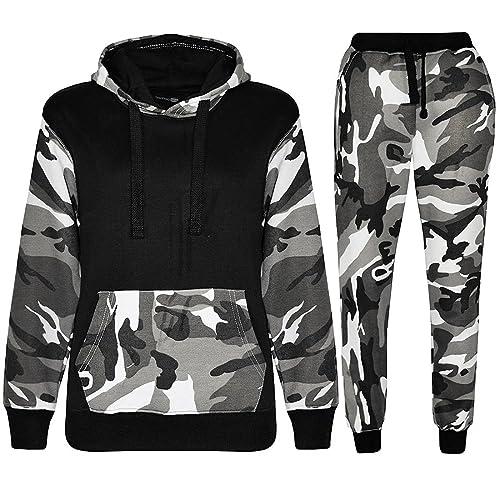 Kids Unisex Boys Splater Paint Camouflage Print Tracksuit Teens Hooded Top Jogging Bottoms Mymixtrendz