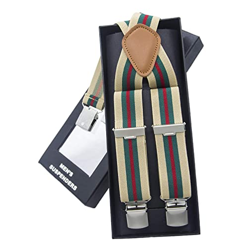 Men Braces KANGDAI Braces For Men 3 Clips Wide 1.4 Y Back Heavy Duty Men Braces Elastic Durable Suspenders Strong Metal Clips