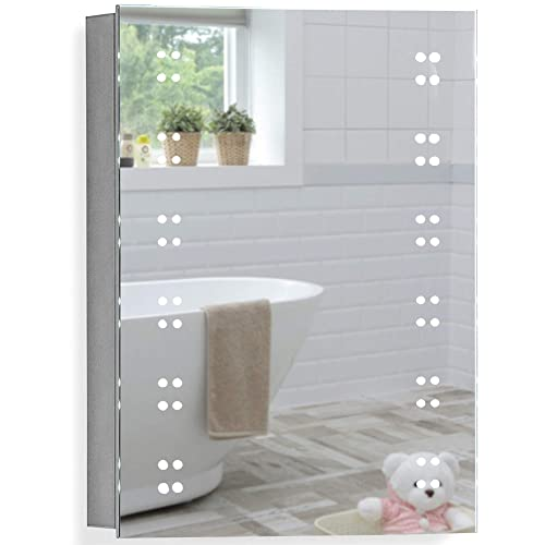 Buy Neue Design Led Illuminated Bathroom Mirror Cabinet 70 X 50 X 15cm Wire Free Demister Heat Pad Shaver Socket And Sensor Switch With Lights Certified To British Standards C16 Online In