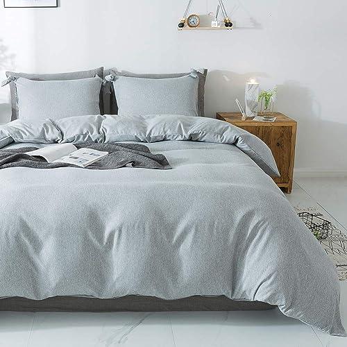 Miffrovn Grey Duvet Cover Set Queen 90x90 Inch 3pcs Luxury